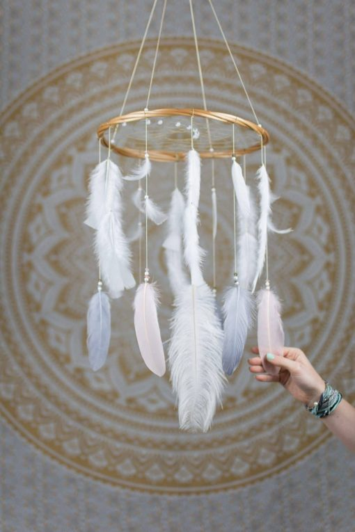 Blush Pink, Grey and White Dream Catcher Mobile - With Size reference