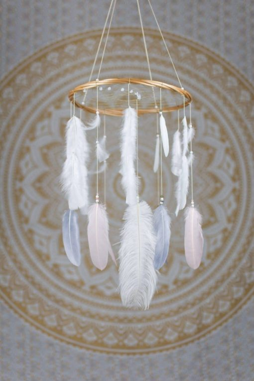 Blush Pink, Grey and White Dreamcatcher Mobile