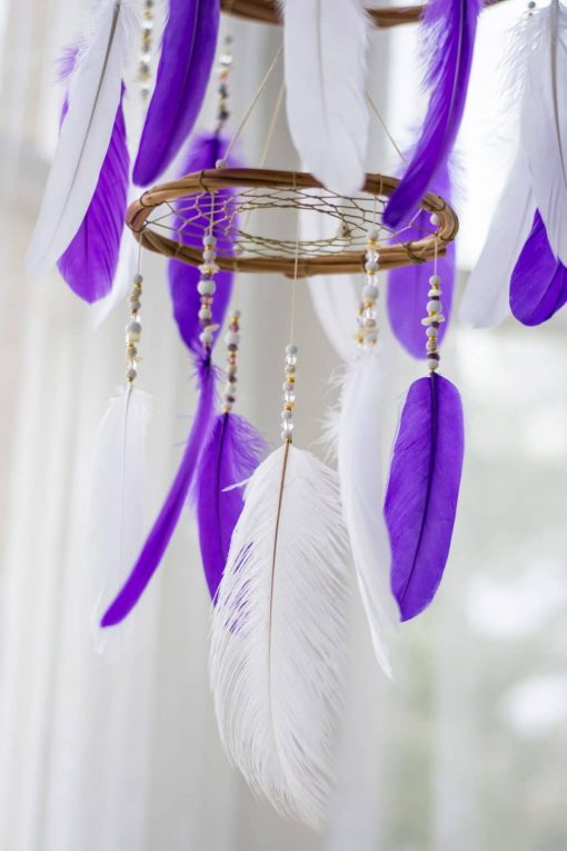 Indigo Purple Chandelier Dream Catcher Mobile Closeup of Beading And Large Feather