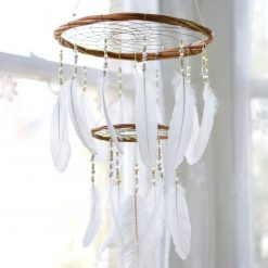 Large White Chandelier Dream Catcher Mobile