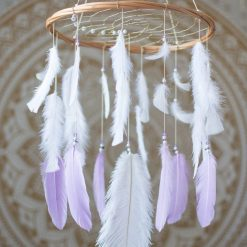 Lilac and White Dream Catcher Mobile