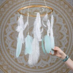 Mint and White Dreamcatcher Mobile - With Size reference