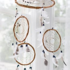 Navy Beading three tier Dream Catcher Mobile