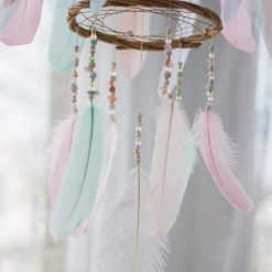 Pastel Chandelier Dream Catcher Mobile Closeup of Beading And Large Feather