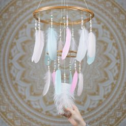 Pastel Chandelier Dream Catcher Mobile - With Size reference