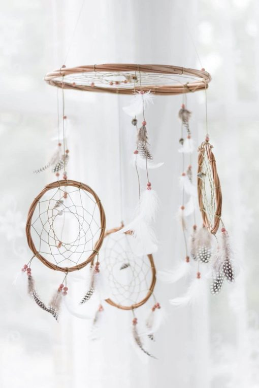 Pink and White 3 Tier Dream Catcher Mobile