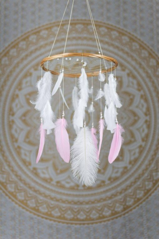 Pink and White Dream Catcher Mobile