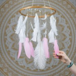 Pink and White Dreamcatcher Mobile - With Size reference