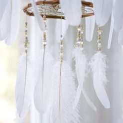 White Chandelier Dream Catcher Mobile Closeup of Beading And Large Feather