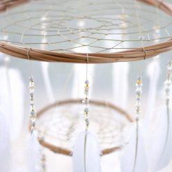 White Chandelier Mobile Closeup of Wooden Hoop