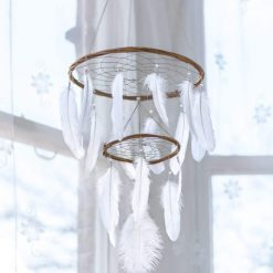White Chandelier Dream Catcher Mobile with Simple Beading