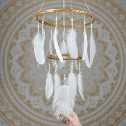 White Chandelier Dream Catcher Mobile - With Size reference