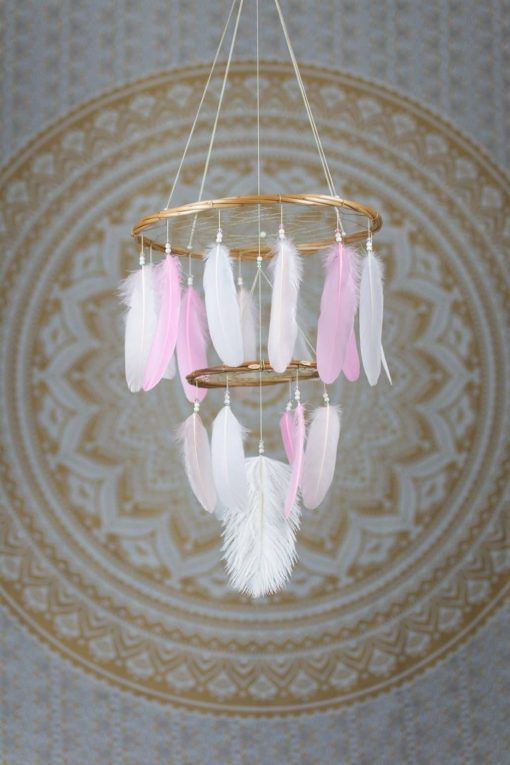 Pink Chandelier Dream Catcher Mobile with Simple Beading