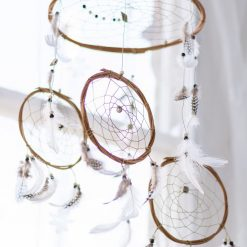 Cream and Brown 3 Tier Dream Catcher Mobile