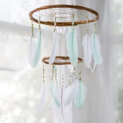 Large Mint and White Chandelier Dream Catcher Mobile