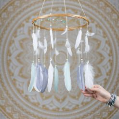 Mint Grey and White Dream Catcher Mobile - With Size reference