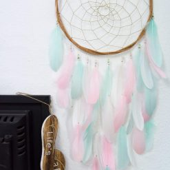 Mint, Pink and White Wall Hanging Feather Dream Catcher