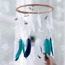 Navy, Teal and White Dream Catcher Mobile with Peacock Feather Centrepiece