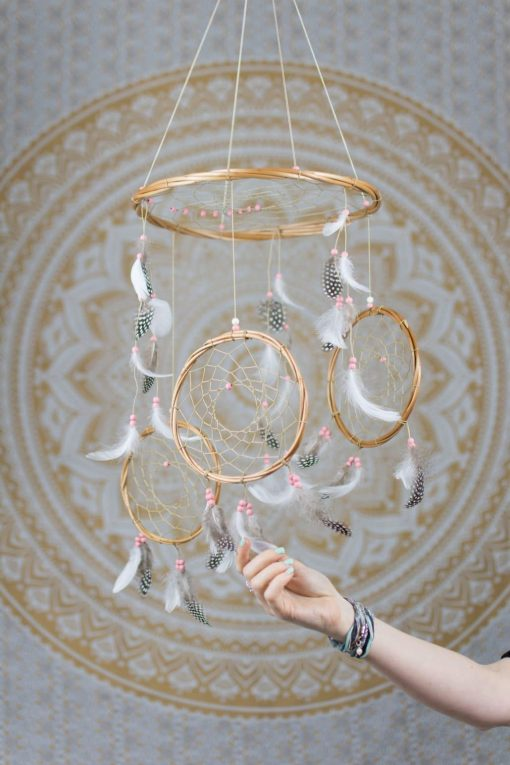 Pink and White 3 Tier Dream Catcher Mobile - With Size reference