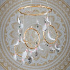 Pink and White 3 Tier Dreamcatcher Mobile
