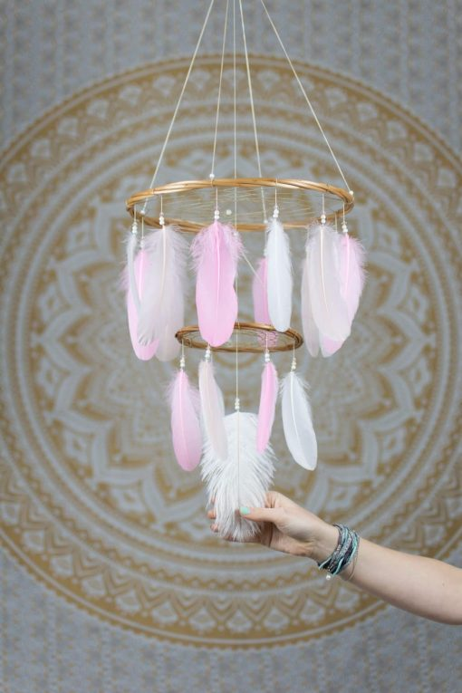Pink Chandelier Dreamcatcher Mobile with Simple Beading