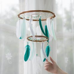 Teal, Mint, Grey and White Chandelier Dream Catcher Mobile - With Size reference