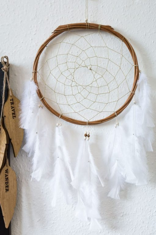 White Wall Hanging Dream Catcher 12 Inch Size