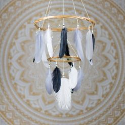 Black, Grey and White Dream Catcher Mobile Chandelier