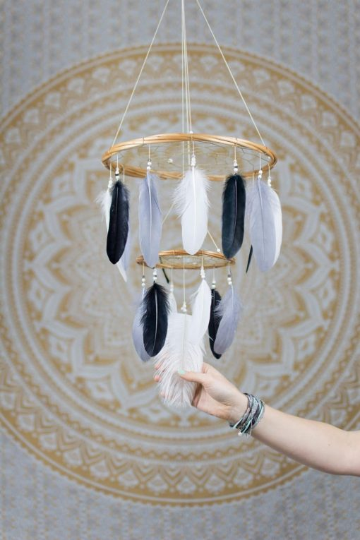 Black, Grey and White Dreamcatcher Mobile Chandelier