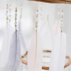 Blush Pink, White and Gray Dream Catcher Chandelier Mobile Closeup