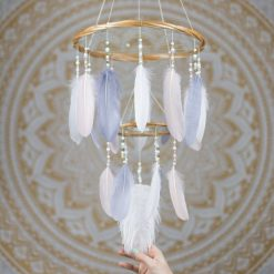 Blush Pink, White and Gray Dreamcatcher Chandelier Mobile