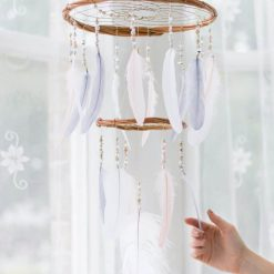 Blush Pink, White and Gray Dreamcatcher Chandelier Mobile - With Size reference
